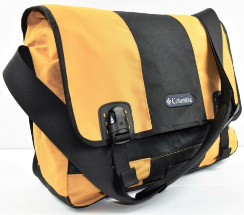 COLUMBIA Gold & Black Cross Body Messenger Book XL Bag Satchel 12x16x5