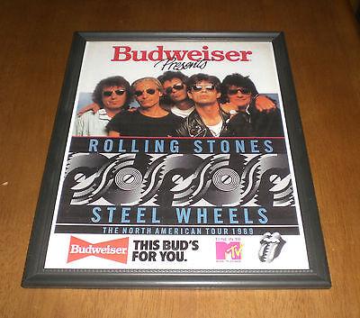 1989 BUDWEISER & THE ROLLING STONES STEEL WHEELS FRAMED AD PRINT