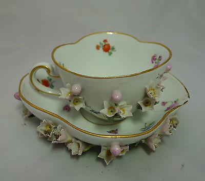 Antique Meissen Flower Encrusted Teacup & Saucer