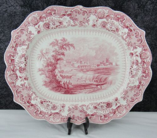 Antique Staffordshire Sidon Holy Bible Red Transferware Pearlware Platter