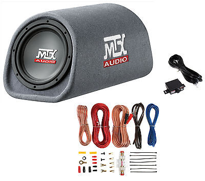"""MTX RT8PT 8"""" 240W Car In the chips Subwoofer Enclosure Amplified Tube+ 8 Ga Amp Kit"""