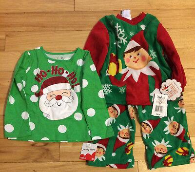 Jumping Beans 3T Santa Ho Ho Ho Shirt+ Elf on the Shelf Flannel PJs Size 3T
