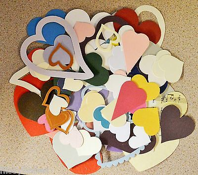 100 Grams Assorted Heart Shapes Cut in Card for Crafts & Craft Projects NEW