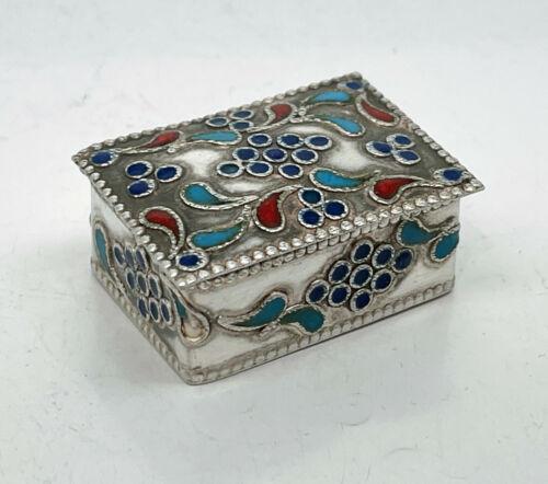 Russian Silver Enamel Pill Box