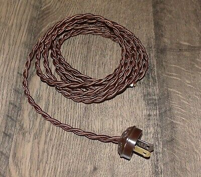 Brown Lamp Cord - BROWN ~ 8' Vintage Lamp Cord ~ Twisted Cloth Covered  w/ Acorn Plug ~ by PLD