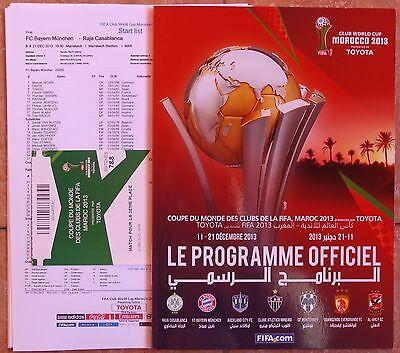FIFA CLUB WORLD CUP 2013 Official Programmme, Final  match Ticket + Team sheet