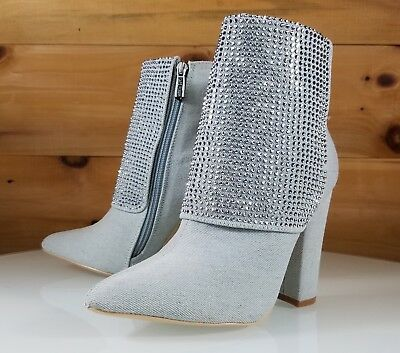 Denim Ankle Boot (CR Bleach Wash Denim Iridescent Rhinestone Chunky High Heel Ankle Boot Size 6-11)