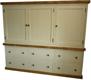 Shabby Chic Freestanding Rustic Painted Solid Pine Kitchen Larder Cupboard.
