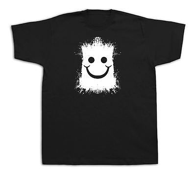 Don't Worry Be Happy Smile Smiley Face film halloween funny t shirt ilfe tee (Smiley Face Happy Halloween)