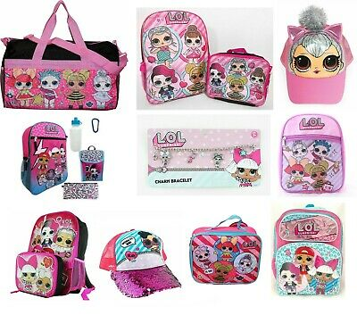 LOL Girls School Backpack Book bag Lunch box Hat Pink Toddler Cute Kids Gift - Backpacks Lunch Boxes