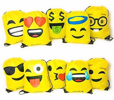 Emoji Bag for Kids Boys and Girls, Halloween Drawstring Backpack, Set of 10 Bags - Emoji For Girls