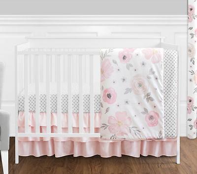 Jojo Bumperless Shabby Chic Pink Watercolor Floweret Baby Girl 4p Crib Bedding Set