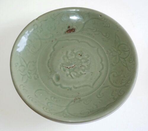 17C Chinese Ming Celadon Deep Dish w. Molded Floral & Vine Motifs (AHB)