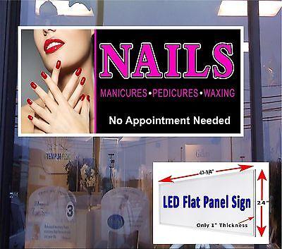 Nails Pedicure Manicure Led Flat Panel Light Box Window Sign 48x24