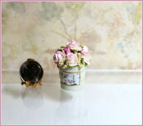 Dollhouse Miniature Sage Green Wood Bucket of Pink Tipped White Mulberry Roses