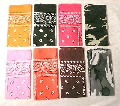 Bandana 100% Cotton Paisley Double-Sided Face Mask Scarf Head Wrap Neck Headband