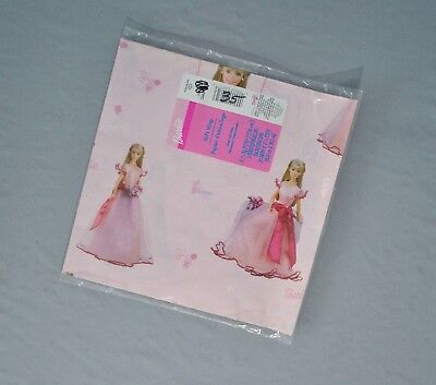 New Vintage Ambassador Barbie Wrapping Paper Pink Gift Wrap 2 Sheets Roses  - Barbie Wrapping Paper