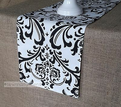 Black and White Table Runner Floral Table Centerpiece Dining Room Home Decor