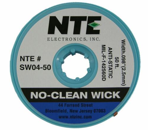 NTE SW04-50 #4 No-Clean Solder Wick - Blue - 50