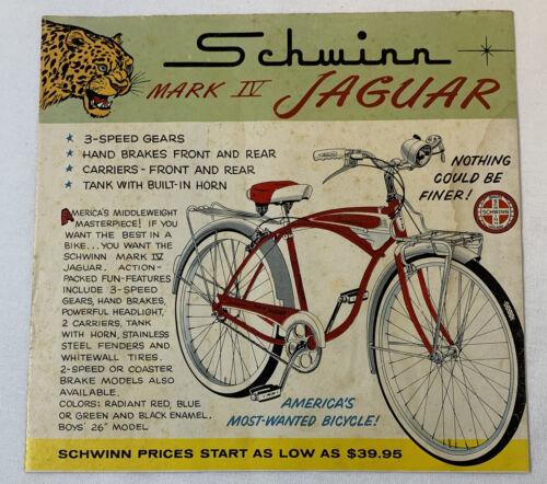 1959 Schwinn bicycle cartoon ad ~ MARK IV JAGUAR Nothing Could Be Finer