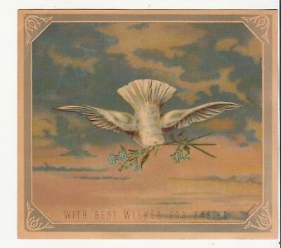 With Best Wishes for Easter White Dove Sprig Clouds Vict Card c1880s