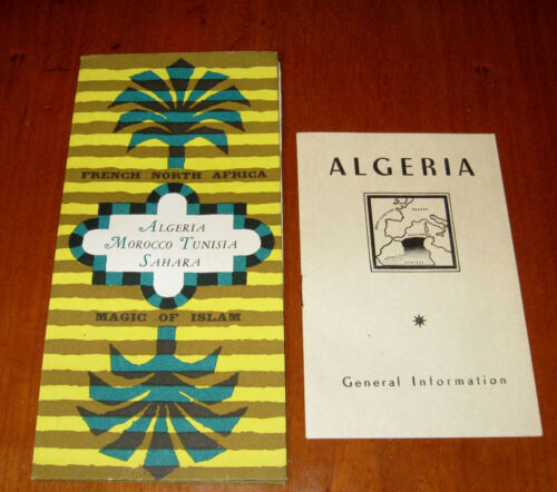 Vintage French North Africa Algeria Tourist Travel Guides Folding Brochure w Map