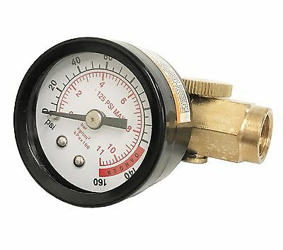 New Inline Air Pressure Regulator With Gauge Solid Brass Construction 160 Psi
