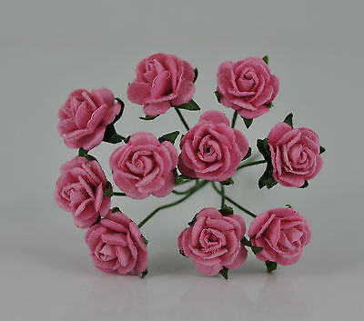 """Mulberry Paper Flower Tiny Rose PINK 3/8"""" 10mm miniature for craft doll house"""