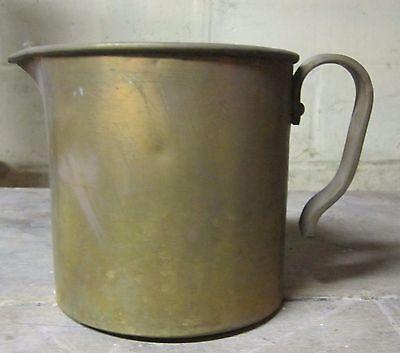 Vintage heavy brass zinc lined primitive cream pitcher - VGC - needs cleaned