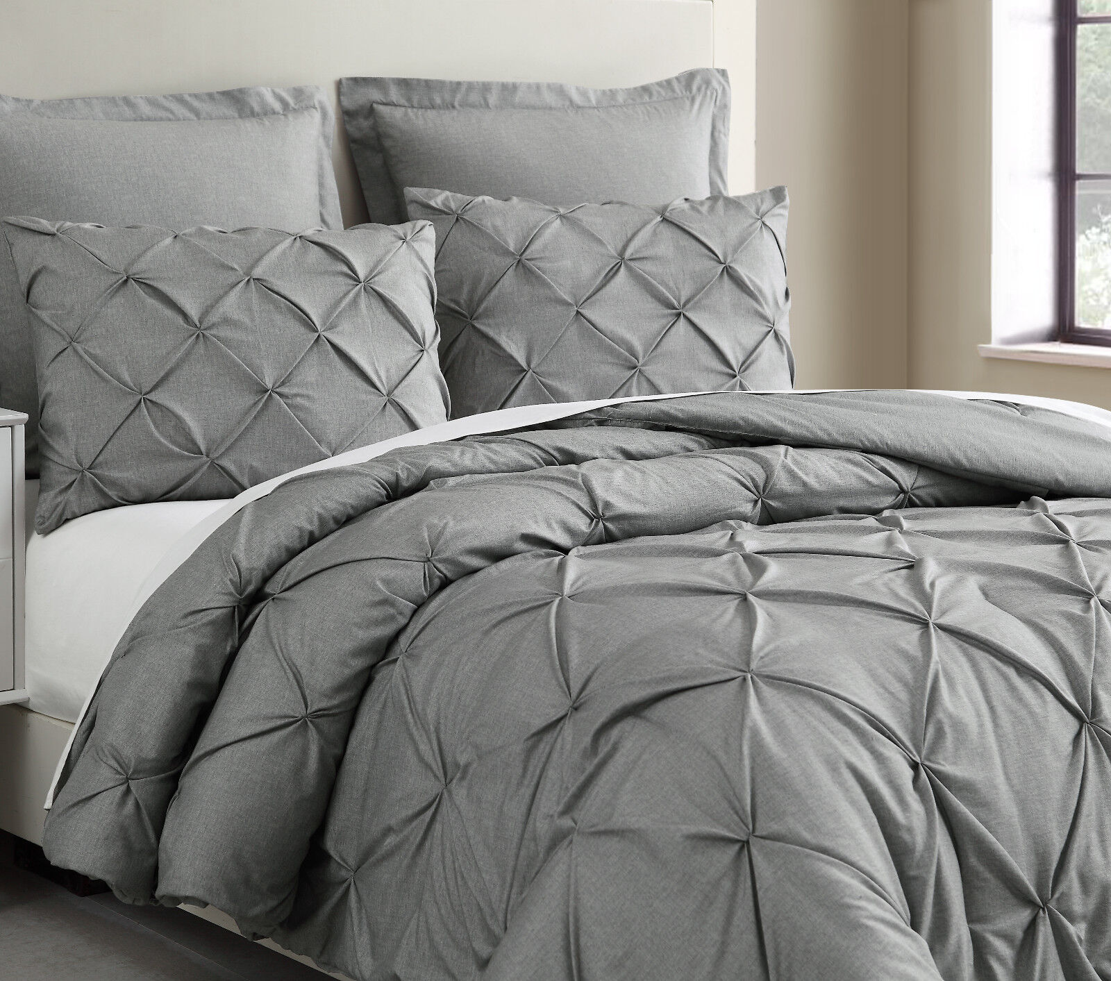Pinch Pleat Light Grey Comforter Set Pintuch Bed Cover for A