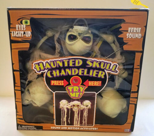 HAUNTED SKULL CHANDELIER - ANIMATED, LIGHT UP WITH EERIE SOUNDS