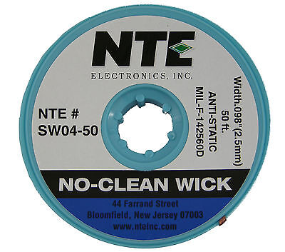 Nte Electronics Sw04-50 50 Solder No-clean Wickbraid For Removal Anti-static