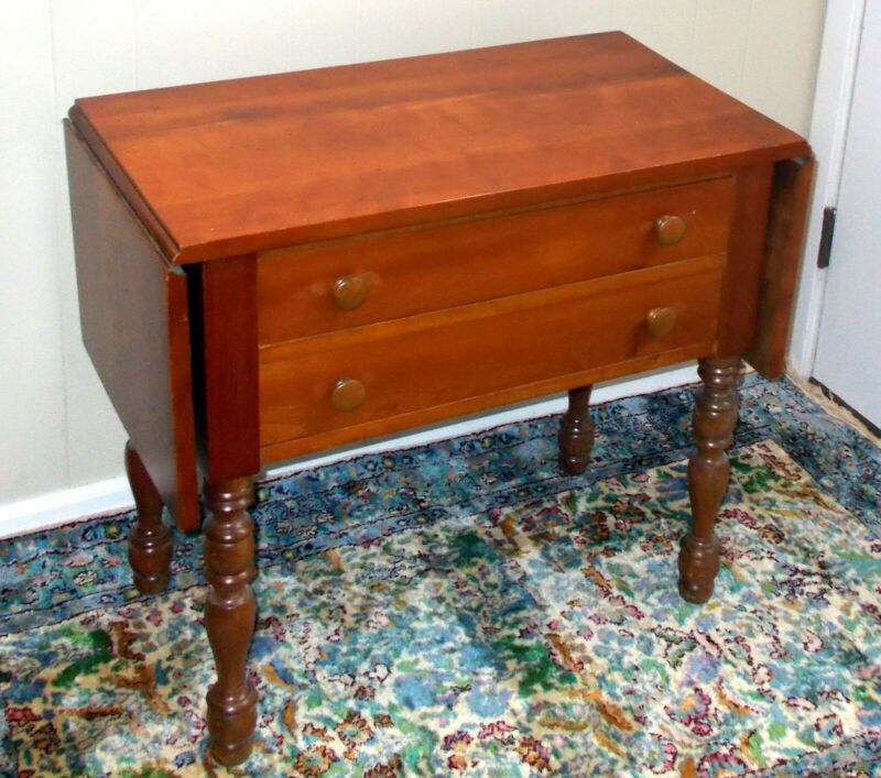 Antique CHERRY Drop Leaf WORK TABLE 2 Drawers Chest American Country Farm
