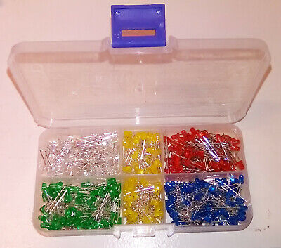 3mm Led Assortment 475 Pcs - Boxed Red Green Yellow Blue White