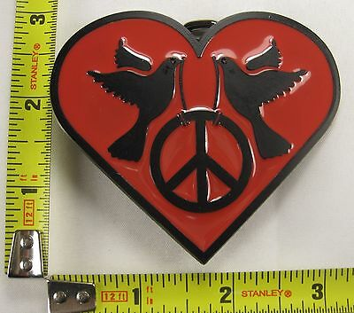 PEACE HEART DOVE BELT BUCKLE LOVE SIGN SYMBOL RED B123