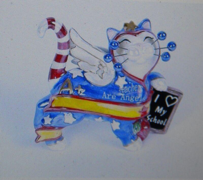 "WhimsiClay ""Teacher"", colorful  cat figurine"