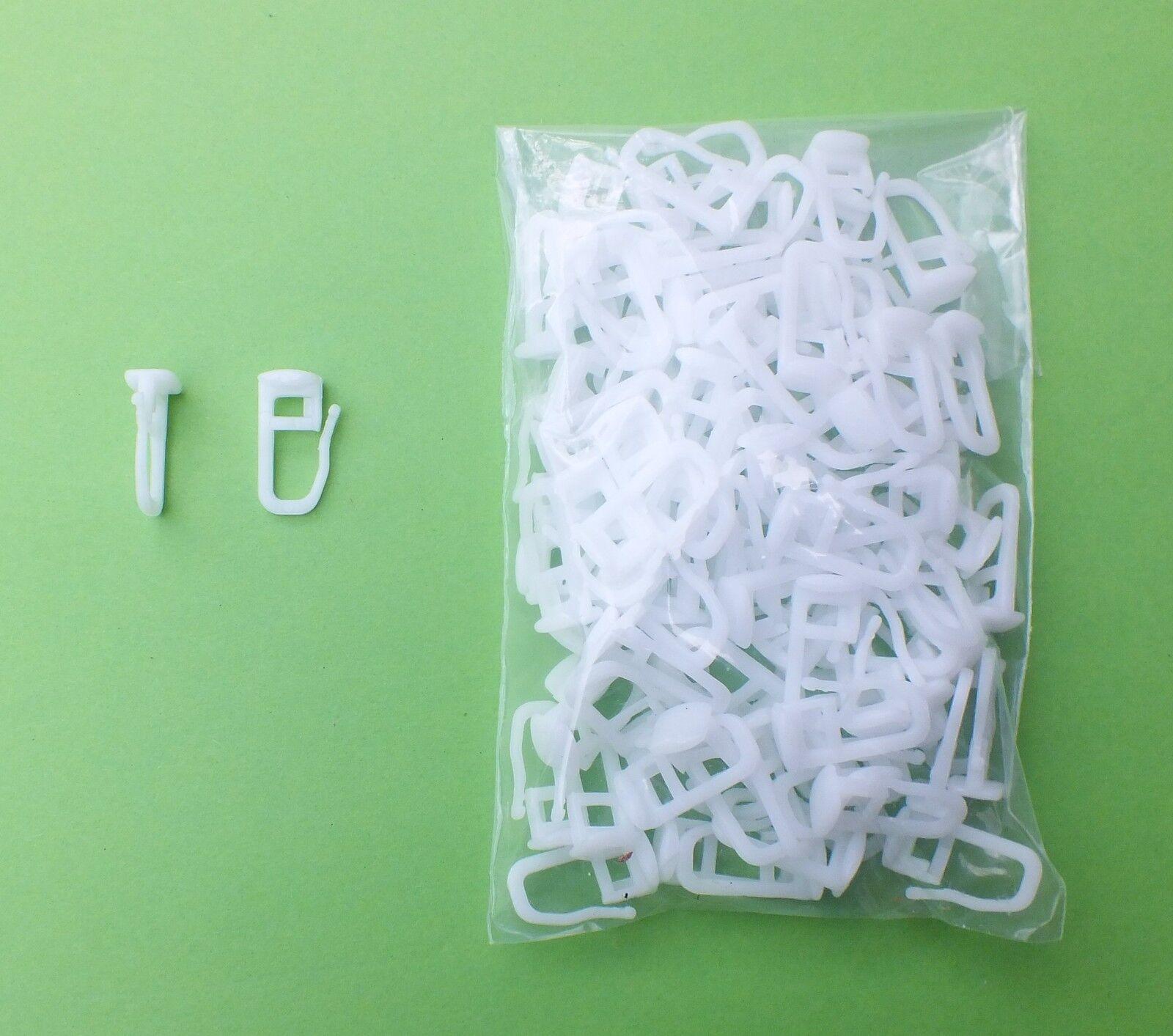 100 Universal Gardinen Gleiter mit Faltenleghaken für fast alle Vorhangschienen