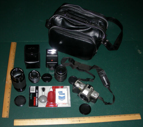 Pentax ZX-5 auto-focus 35mm film camera with 3 lenses & flash & bag bundle SWEET