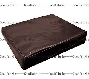 Pe203t coco brown faux leather classic pattern 3d box for Brown leather sofa cushion covers