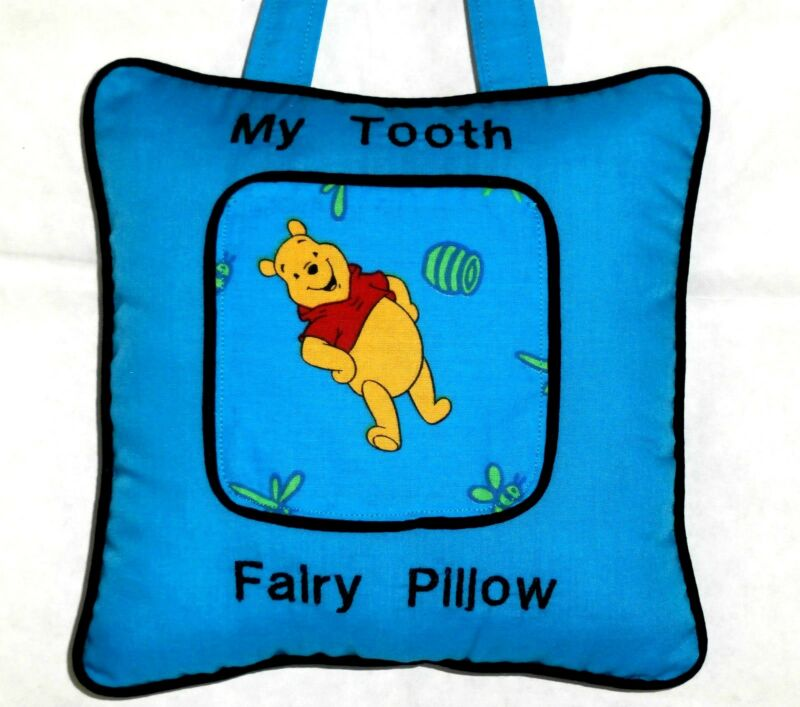 Tooth Fairy Pillow with Pooh on Turquoise Cotton P2 New Handmade