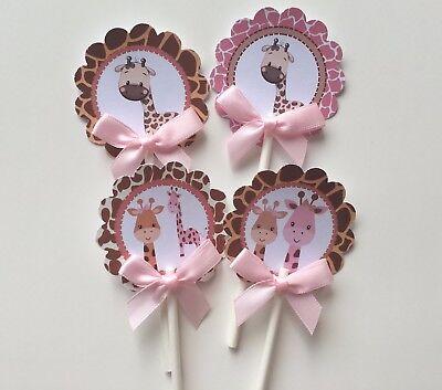 Giraffe cupcake toppers/ girl giraffe theme/ safari theme/ giraffe baby shower](Pink Safari Cupcakes)