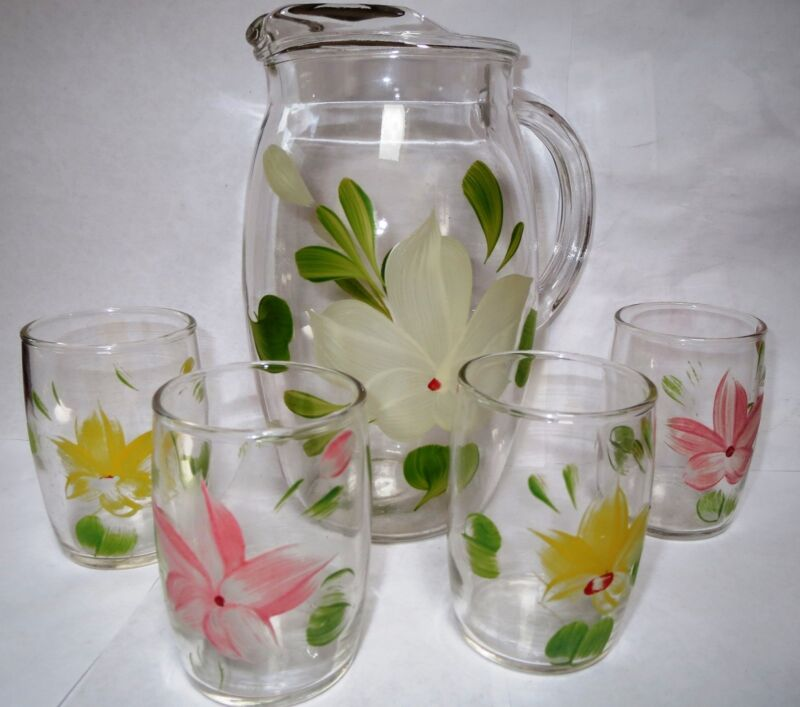HANDPAINTED PITCHER AND FOUR GLASSES