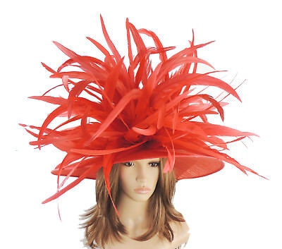 Red Large Ascot Hat for Weddings, Ascot, Derby HC1