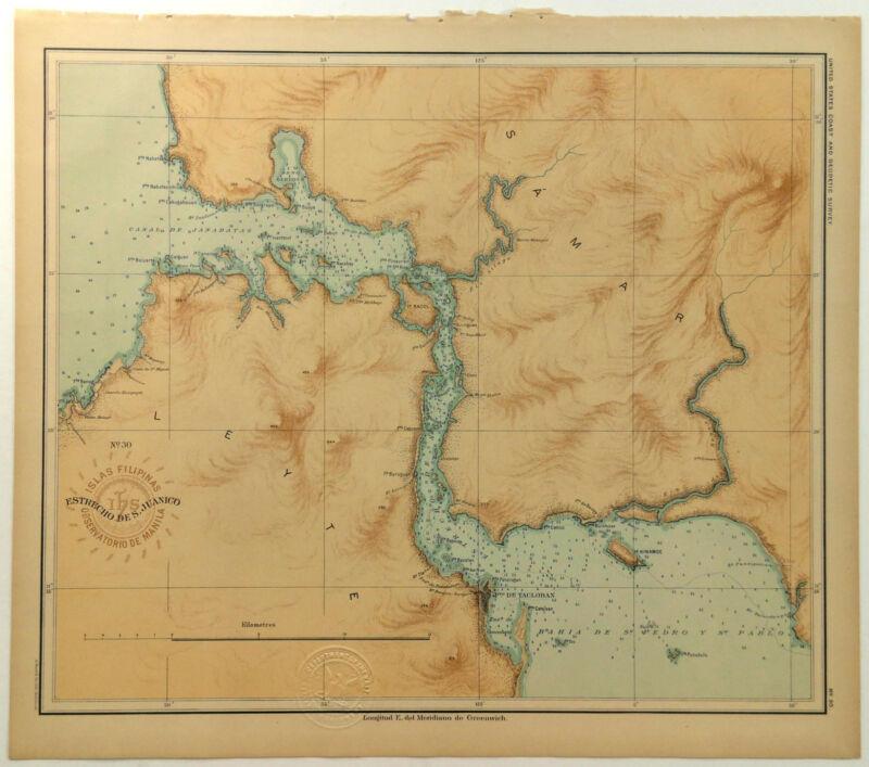 1899 Official US Navy Map Philippine Islands Estrecho San Juanico Leyte Samar