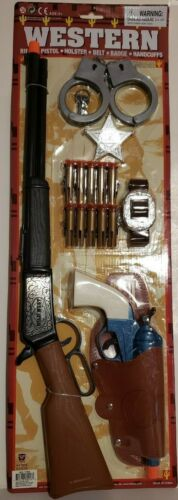 Western Rifle AirGun DLX-Set W/ HandCuffs,Suction Cup Bullets + Pistol & Holster