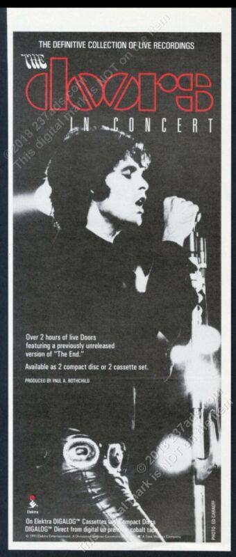 1991 The Doors Jim Morrison photo In Concert album release vintage print ad