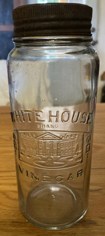 White House Brand Vinegar Jar (Embossed)w/glass lid & Band # 5