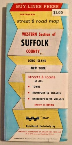 Vintage 1950s Road Map of Western Section of Suffolk-Long Island & NY --  1361
