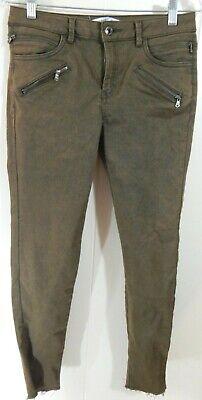 Zara Basic Women's 6 Jeans Olive Zip Pocket Skinny Mid-Rise Frayed Hem EUC