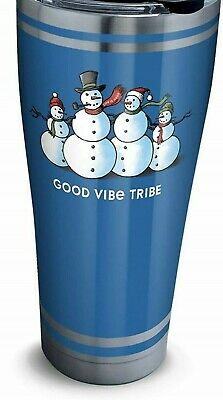 Tervis Tumbler Life is Good Vibe Tribe Xmas 30Oz Stainless 4 Snowmen NEW w Lid